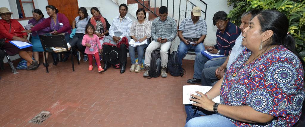 Secretaria de Pueblos Indígenas, Natalia Sarapura, encabeza la reunión que se concretó en la sede del organismo.